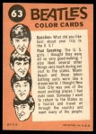 1964 Topps Beatles Color #63   George and John playing in concert Back Thumbnail