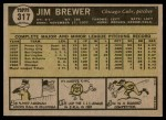 1961 Topps #317  Jim Brewer  Back Thumbnail