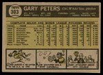 1961 Topps #303  Gary Peters  Back Thumbnail