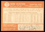 1964 Topps #111  Don Elston  Back Thumbnail