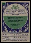 1975 Topps #228  Billy Knight  Back Thumbnail
