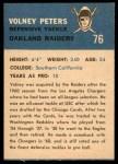 1962 Fleer #76  Volney Peters  Back Thumbnail