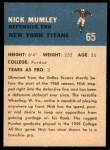 1962 Fleer #65  Nick Mumley  Back Thumbnail