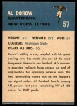 1962 Fleer #57  Al Dorow  Back Thumbnail