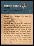 1962 Fleer #7  Walt Cudzik  Back Thumbnail