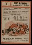 1962 Topps #3  Alex Hawkins  Back Thumbnail