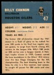 1962 Fleer #47  Billy Cannon  Back Thumbnail