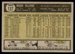 1961 Topps #127  Ron Kline  Back Thumbnail