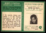 1966 Philadelphia #24  Johnny Unitas  Back Thumbnail