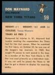 1962 Fleer #59  Don Maynard  Back Thumbnail