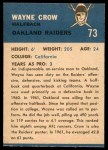 1962 Fleer #73  Wayne Crow  Back Thumbnail