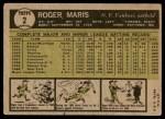 1961 Topps #2  Roger Maris  Back Thumbnail