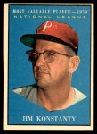 1961 Topps #479   -  Jim Konstanty Most Valuable Player Front Thumbnail