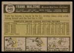 1961 Topps #445  Frank Malzone  Back Thumbnail
