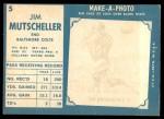 1961 Topps #5  Jim Mutscheller  Back Thumbnail