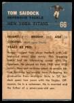 1962 Fleer #66  Tom Saidock  Back Thumbnail