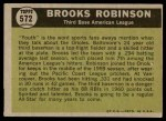 1961 Topps #572   -  Brooks Robinson All-Star Back Thumbnail