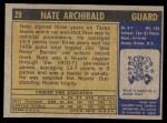 1971 Topps #29  Nate Archibald   Back Thumbnail