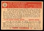 1952 Topps #132 CRM Clyde Kluttz  Back Thumbnail