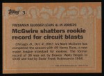 1988 Topps #3 COR  -  Mark McGwire Record Breaker Back Thumbnail