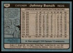 1980 Topps #100  Johnny Bench  Back Thumbnail