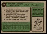 1974 Topps #77 SD Rich Troedson  Back Thumbnail