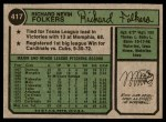 1974 Topps #417  Rich Folkers  Back Thumbnail