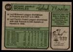 1974 Topps #387 WAS Rich Morales  Back Thumbnail