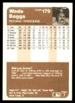 1983 Fleer #179  Wade Boggs  Back Thumbnail