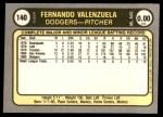 1981 Fleer #140  Fernando Valenzuela  Back Thumbnail