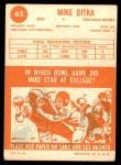 1963 Topps #62  Mike Ditka  Back Thumbnail