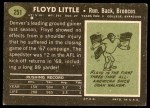 1969 Topps #251  Floyd Little  Back Thumbnail