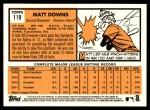 2012 Topps Heritage #119  Matt Downs  Back Thumbnail