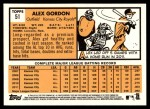 2012 Topps Heritage #51  Alex Gordon  Back Thumbnail