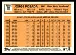 2012 Topps Heritage #330  Jorge Posada  Back Thumbnail