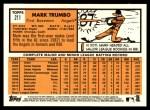 2012 Topps Heritage #211  Mark Trumbo  Back Thumbnail