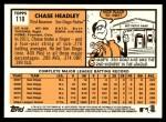 2012 Topps Heritage #110  Chase Headley  Back Thumbnail