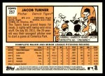 2012 Topps Heritage #257  Jacob Turner  Back Thumbnail