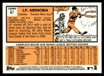 2012 Topps Heritage #67  J.P. Arencibia  Back Thumbnail