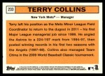 2012 Topps Heritage #233  Terry Collins  Back Thumbnail