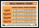2012 Topps Heritage #95   -  Joe Benson / Adron Chambers / Corey Brown / Michael Taylor Rookies Back Thumbnail