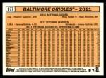 2012 Topps Heritage #377   Orioles Team Back Thumbnail