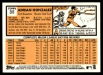2012 Topps Heritage #285  Adrian Gonzalez  Back Thumbnail