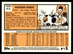 2012 Topps Heritage #413  Huston Street  Back Thumbnail