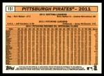 2012 Topps Heritage #151   Pittsburgh Pirates Back Thumbnail