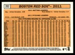 2012 Topps Heritage #202   Red Sox Team Back Thumbnail