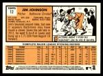 2012 Topps Heritage #12  Jim Johnson  Back Thumbnail