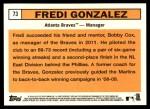 2012 Topps Heritage #73  Fredi Gonzalez  Back Thumbnail
