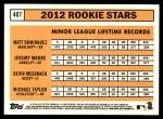 2012 Topps Heritage #407   -  Matt Dominguez / Jeremy Moore / Devin Mesoraco / Michael Taylor Rookies Back Thumbnail