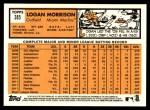 2012 Topps Heritage #385  Logan Morrison  Back Thumbnail